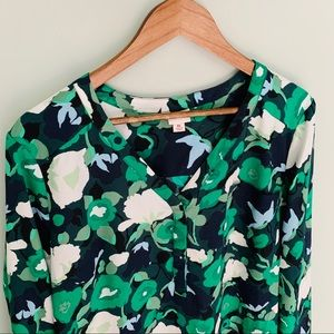 Merona Green Floral Top Size XL
